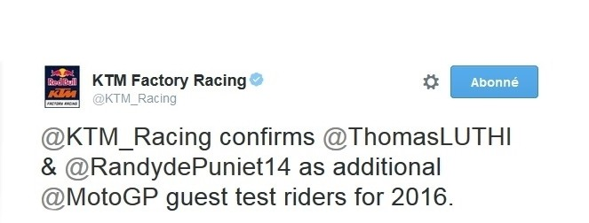 ktm confirms randy de puniet and tom luthi as test riders 2