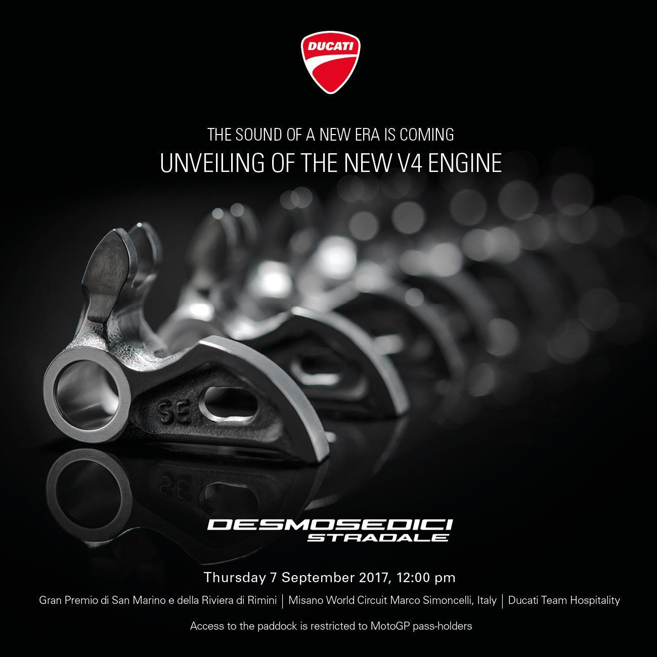 Новиот V4 мото на Ducati се вика  Desmosedici Stradale